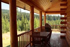 Deck off the dining area, Cool Creek Lodge in Yaak Montana