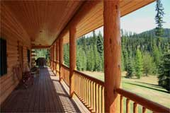 Front entry deck view, Cool Creek Lodge in Yaak Montana